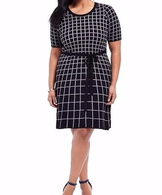 e47d89cdcd Gabby Skye Stretch Knit Sweater Dress In Window Pane Size 1X - Belt Not  Included