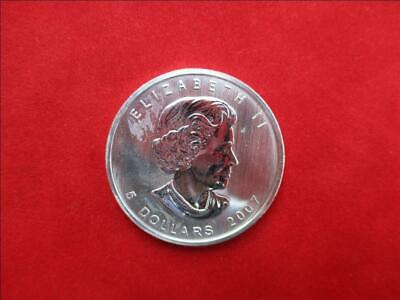 Canada 5$ Dollars de 2007 Maple Leaf 1 Once Once 999/1000 Argent
