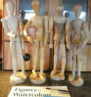 4x  xWooden Artists Moveable Mannikins  x Figure drawing book