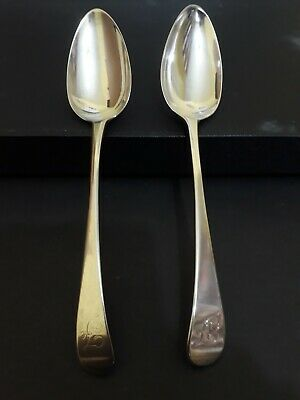 2 x Solid Silver Old English Tablespoons. Newcastle 1799 and 1800.