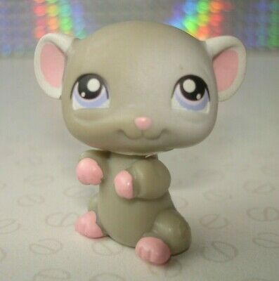 Hasbro Littlest Pet Shop #105 Small Grey & Pink Mouse Figure with Lilac Eyes