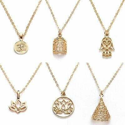Fashion Women Gold Plated Family Necklace Pendant Clavicle Choker Chain Card Hot