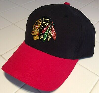 bf285e0925d32 Chicago Blackhawks embroidered Red   Black Cap NHL Hat adjustable - Free  Ship!