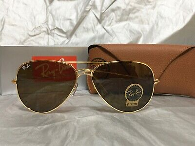 a4bf0e832d490 RAY-BAN 62MM AVIATOR Pilot Classic Sunglasses Gold Frame Brown Lens Lenses  -  62.14
