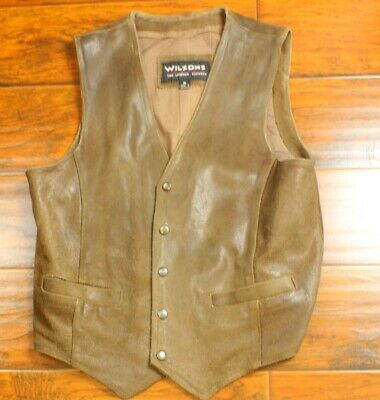 b1ca4d66a WILSON'S SUEDE LEATHER Vest Mens Size Small to Medium Button Front Brown  Western