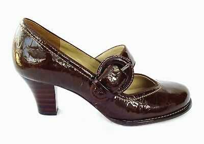 8c1ea2723 Clarks Bombay Luck Ladies Brown Patent Leather Mary Jane Bar Court Shoes  Size 4