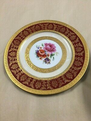 """12 Selb Royal Bavarian Hutschenreuther Gold 10 3/4"""" Dinner plates c e roy"""