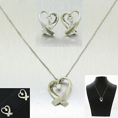 Vintage 14k Solid White Gold 0.20ctw~ Heart Ribbon Earrings & Necklace Set