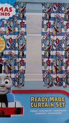 """Thomas The Tank Engine and Friends Pair Of Kids Blue Curtains 66"""" x 54"""" NEW"""