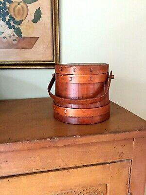"""Vintage Primitive Wooden Small Firkin/Sugar Bucket with Lid/Cover W/Handle 6.25"""""""