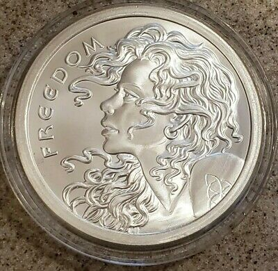 2014 5 Oz Pure 999 Silver Freedom Girl Silver Shield Rare  Round Coin Bu Bullion