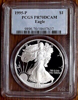 1995-P $1 Proof Silver Eagle PCGS PR70DCAM |  ONE OUNCE .9993 SILVER BULLION!!