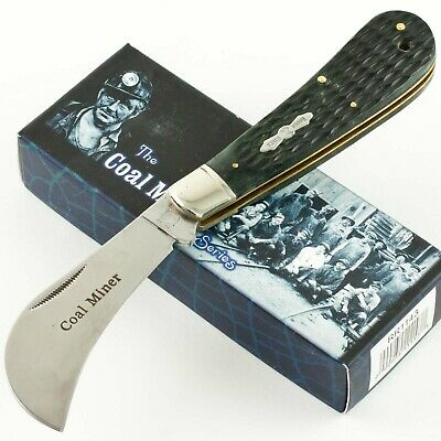 ROUGH RIDER Black Handles Coal Miner Series HAWKBILL Knife RR1143 Inlay Shield