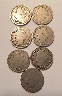 1899 - 1912 Liberty Head Nickel Lot of 7 Coins
