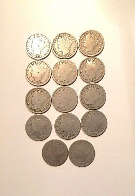 1897 - 1912 Liberty Head Nickel Lot of 14 Coins