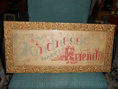 Antique Punch Paper Sampler Kindness Makes Friends Ornate Gold Frame