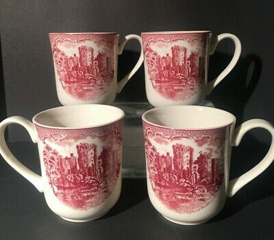 Johnson's Brothers China Old Britain Castles Pink Mugs Set of 4