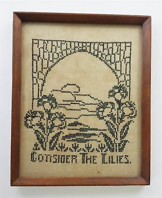 antique CROSS STITCH SAMPLER silhouette CONSIDER the LILLIES lily wood frame