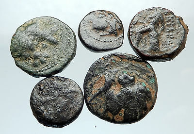AUTHENTIC Ancient 400BC-250AD GREEK - 5 COINS Group Lot KIT Collection i74928