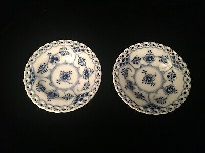 Two Royal Copenhagen BLUE FLUTED FULL LACE #1004 Butter Pat, 1st Quality