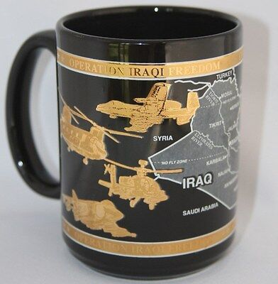 Operation Iraqi Freedom Coffee Mug by  Evergreen Joy Ornate Raised Gold Graphics