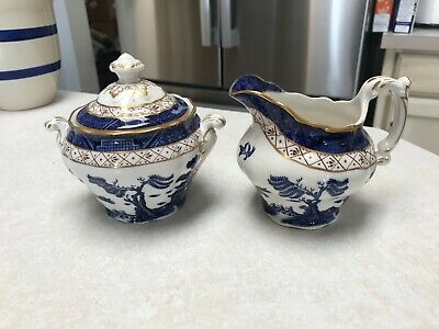 Royal Doulton Booth's Real Old Willow Majestic Collection Creamer & Sugar Set!