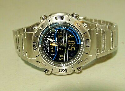 Metal Casio Fishing Gear Moon Phase Thermometer Amw 703 Ana Digi Watch 4733 Movt
