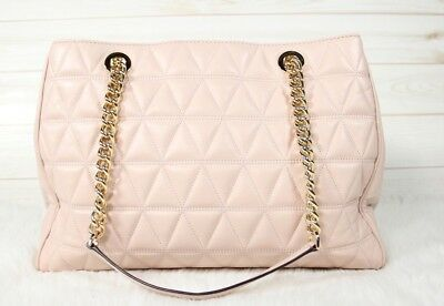 49554284cc0d Michael Kors Scarlett Large Soft Pink Quilted Leather Tote Handbag MSRP $398