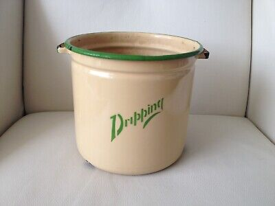 Vintage 1930s Cream & Green Enamel Dripping Container With Handles (no lid)