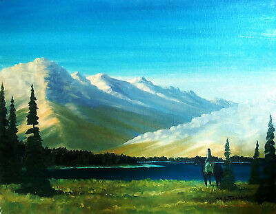Original Oil Painting - Cheif Frank Kaquitts - Sitting Wind - First Nations