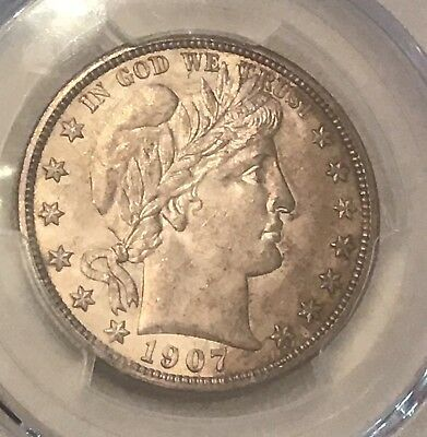 1907-D US Silver Barber Half Dollar 50c PCGS MS63 Beautiful Coin