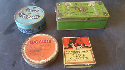 4 x tobacco tins wills country life log cabin the greys