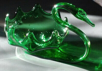 Pristine Vintage Sooner Glass Hand Blown Swan - Large Emerald Green