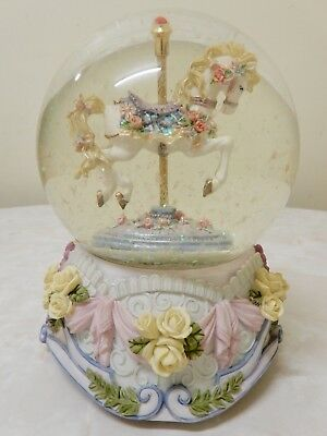 Floral Horse On Carousel/merry Go Round Wind-Up Musical Snow Globe/dome 16Cm