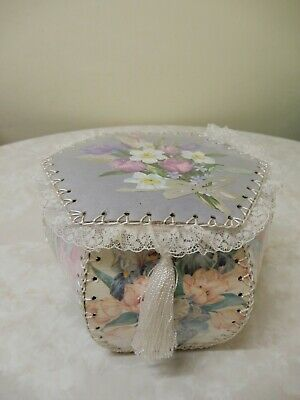 Vintage Style Hand Made/crafted Flower Greeting Card Box/hankie Box 22 X 22 Cm