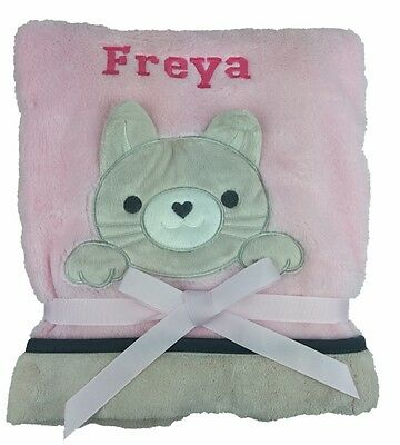 Personalised Deluxe Pink Kitten Baby Blanket. Luxurious wrap. Great baby gift