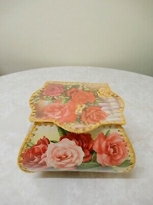 Vintage Style Hand Made/crafted Flower Greeting Card Box/hankie Box 16X16Cm