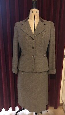 Vintage Ladies Tweed Suit Wool 40s 50s Jacket Skirt Kartex