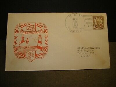 USS BROOKLYN CL-40 Naval Cover 1938 SHAKEDOWN CRUISE Cachet