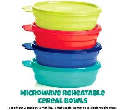 NEW Set of 4 Tupperware Impressions Microwave Reheatable Cereal Bowls with Seals