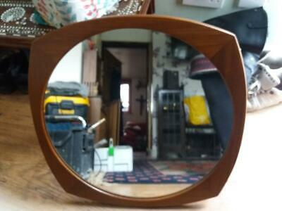 Beautiful vintage modernist teak 1970's mirror  22 x 22 inch