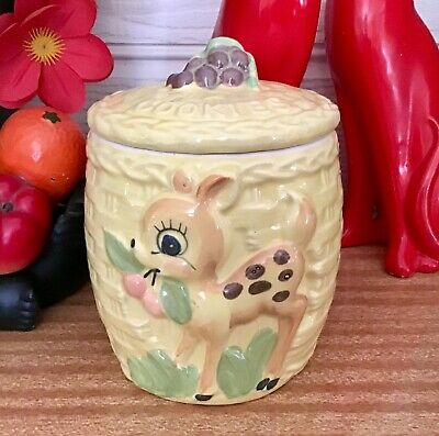 Retro vintage kitsch bambi deer cookie jar