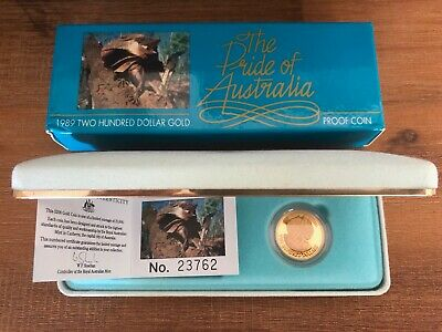 1989 Royal Australian Mint Frilled Neck Lizard $200 Gold Proof Coin 10g with COA
