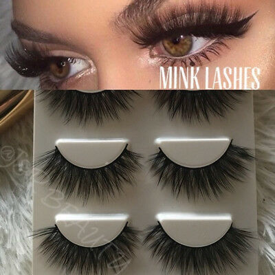 3er Set 3D Echthaar Wimpern Mink Lilly Lashes Fake False Faux Eyelashes Geschenk