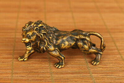 chinese old bronze hand carved leo lion statue netsuke decoration ornament