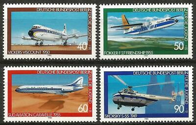 Germany (Berlin) 1980 MNH - Aviation History Vickers Fokker Caravelle Sikorsky