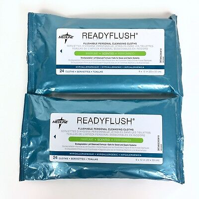 Medline ReadyFlush Scented Biodegradable Flushable Wipes 48 Count 2 Packs of 24