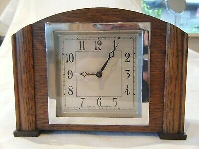 Vintage Mantle Clock. Wooden Case. Unusual square face and bezel. Working.