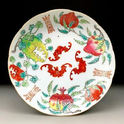 FINE QUALITY antique Chinese porcelain SANDUO DISH 19th century famille rose