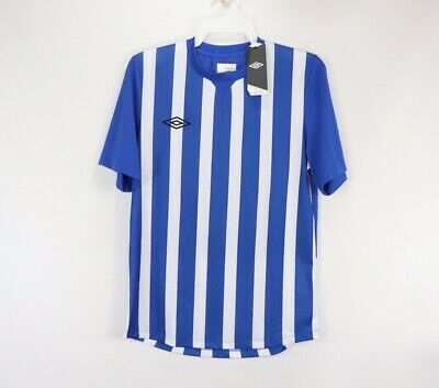 e685a9958bf New Umbro Mens Small Short Sleeve Stripe Knit Soccer Jersey Royal Blue White